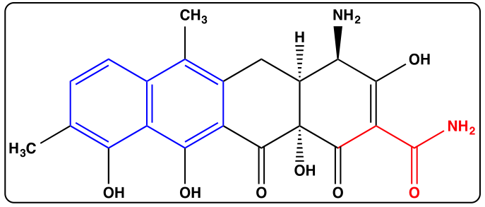 The structure of the new tetracycline antibiotic 2-carboxamido-2-deacetyl-chelocardin.  Key structural features of this atypical tetracycline are designated in colour.