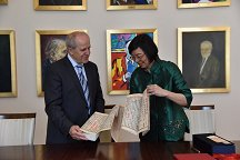 At the signing of the Cooperation Agreement the Director-general of the National Central Library of Taiwan, Prof. Dr. Shu-hsien Tseng presented the Rector of the University of Ljubljana, Prof. Dr. Ivan Svetlik with a copy of the Buddhist Diamond Sutra, which is considered the oldest printed book in the world. It is one of the most influential sutras in East Asia and is a key object of devotion and study in Zen Buddhism.