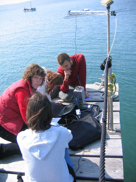Nautical students with the aid of GPS measure the EM field fading distance of a directional antenna  Photo: Franc Dimic