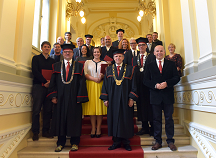 Recipients of the highest artistic award together with the Rector of the University of Ljubljana Prof. Dr. Ivan Svetlik.