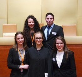 Students of the Faculty of Law won the grand finale of the global competition in knowledge of European Union Law – European Law Moot Court (ELMC), Headquarters of the EU Court in Luxembourg, spring 2016.  Photo: Prof. Dr. Ana Vlahek